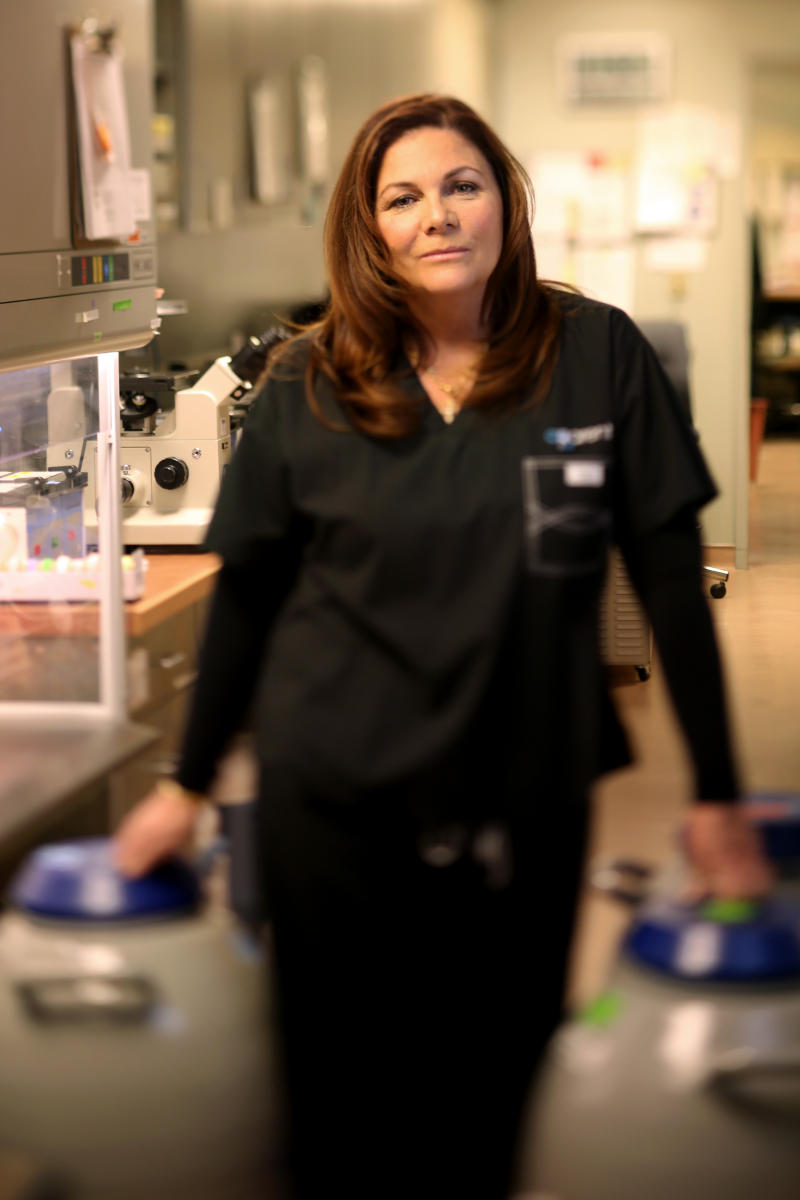 Embryologist Colleen Wagner Coughlin is pictured in the lab of aParent IVF in Highland Park, Ill.