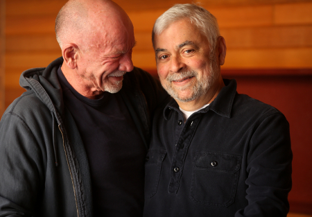 "Art Johnston, 69, left, and his partner Jose Pena, 69, are pictured at Sidetracks in Chicago. The two, who have been together for 39 years and own the bar together, have a civil union. ""I didn't think it would change anything,"" said Johnston on getting a civil union. ""But it did. It's different."""